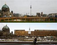 <p>A combination of two pictures shows (top) the last remains of the former East German parliament building the Palace of Republic (Palast der Republik) in Berlin, November 26, 2008 and a file picture (bottom) of the same location in January 4, 2006. REUTERS/Staff</p>