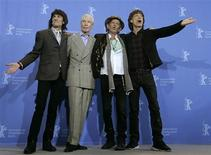 <p>Rolling Stones Ron Wood, Charlie Watts, Keith Richards and Mick Jagger (L to R) pose during a photocall to present their film 'Shine A Light' running in competition at the 58th Berlinale International Film Festival in Berlin February 7, 2008. REUTERS/Fabrizio Bensch</p>