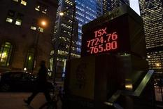 <p>A sign displaying TSX information is seen in Toronto, November 20, 2008. REUTERS/Mark Blinch</p>