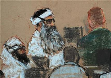 A courtroom drawing by artist Janet Hamlin, reviewed by the U.S. military, shows Khalid Sheikh Mohammed (C) and co-defendant Walid bin Attash (L) attending a pretrial session in Guantanamo Bay December 8, 2008. REUTERS/Janet Hamlin/Pool