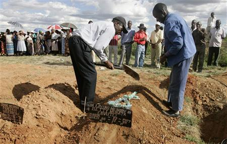 Relatives cover the grave of cholera victim Betty Mubata during her burial at Chitungwiza Unit L cemetery, 27km (17 miles ) south of the capital Harare, December 8, 2008. REUTERS/Philimon Bulawayo