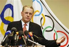 <p>President of the International Olympic Committee (IOC) Jacques Rogge announces his decision to stand for a second term in office during a news conference in Brussels October 30, 2008. REUTERS/Thierry Roge</p>