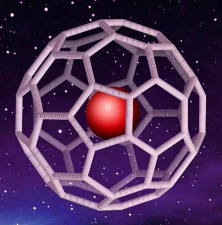 A fullerene or ''buckyball'' molecule with noble gas trapped inside is shown in this undated artist concept handout image. REUTERS