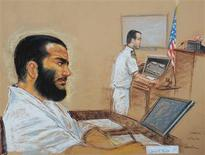 <p>A drawing by artist Janet Hamlin, reviewed by the US military, shows young Canadian captive, Omar Khadr, who is accused of throwing a grenade that killed a U.S. soldier in Afghanistan in July 2002, as his lead defense counsel, Navy Lieutenant Commander William Kuebler, addresses the judge, Army Colonel Pat Parrish at a pre-trial session at the Guantanamo Bay naval base December 12, 2008. Khadr's trial is scheduled to start on January 26, 2009 ,a date now in doubt because of the change in the U.S. Administration. REUTERS/Janet Hamlin/Pool</p>