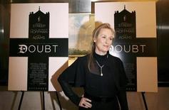 """<p>La actriz Meryl Streep en el estreno del filme """"Doubt"""" en Nueva York, 7 dic 2008. El drama """"Doubt"""" lideró el jueves todas las nominaciones a los premios del Sindicato de Actores de Estados Unidos (SAG), con cinco candidaturas en total, incluyendo la de mejor reparto. REUTERS/Lucas Jackson (UNITED STATES)</p>"""