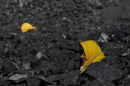 People search for usable coal near a coking factory at a cinder dump site in Changzhi, Shanxi province November 19, 2008. REUTERS/Stringer
