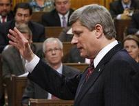 <p>Canada's Prime Minister Stephen Harper speaks during Question Period in the House of Commons on Parliament Hill in Ottawa December 3, 2008. Harper said on Thursday his government could run a deficit of as much as C$30 billion ($25 billion) next year to fund a stimulus package aimed at kick-starting the weakening economy. REUTERS/Chris Wattie</p>
