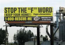 <p>A freeway billboard displays an advertisement for foreclosure assistance in Fontana, California January 5, 2009. REUTERS/Lisa Baertlein</p>