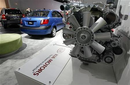 In this file photo the Kia motors display is shown during the press preview at the 2008 North American International Auto Show in Detroit, January 15, 2008. REUTERS/ Mike Cassese
