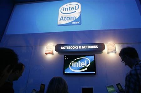 Showgoers try out notebook and netbook computers at the Intel booth at the annual Consumer Electronics Show (CES) in Las Vegas, Nevada, January 9, 2009. REUTERS/Rick Wilking
