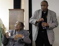 <p>Amelia Boynton Robinson, 97, an Alabama activist, speaks to visitors at a National Parks Service facility as Bernard LaFayett (R) looks on in Tuskegee, Alabama, January 9, 2009. Robinson, who was jailed, beaten and often risked her life to push for voting rights in the racially segregated South said she is still fighting for equal treatment of all. REUTERS/Andrea Shalal-Esa</p>