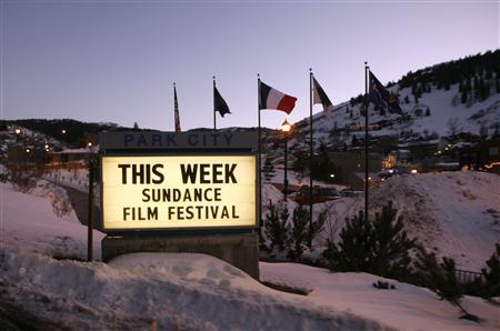 A sign is seen near Main Street at the 2009 Sundance Film Festival in Park City, Utah January 14, 2009. REUTERS/Danny Moloshok