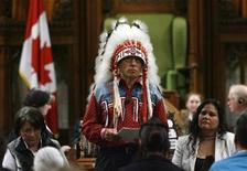 <p>Assembly of First Nations National Chief Phil Fontaine speaks in the House of Commons on Parliament Hill in Ottawa June 11, 2008. REUTERS/Tom Hanson/Pool</p>