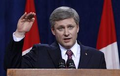 <p>Canada's Prime Minister Stephen Harper speaks during the closing news conference at the First Ministers' meeting in Ottawa January 16, 2009. REUTERS/Chris Wattie</p>