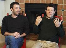 "<p>Executive producer Ben Affleck (L) and New York Times reporter Nicholas D. Kristof (R), who is the subject of the documentary film ""Reporter,"" sit for an interview about the movie at the 2009 Sundance Film Festival in Park City, Utah January 17, 2009. REUTERS/Danny Moloshok</p>"
