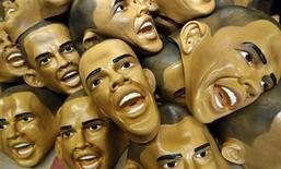 <p>Masks depicting president-elect Barack Obama are piled up at Japan's Ogawa Rubber Inc factory in Saitama city, suburban Tokyo January 19, 2009. REUTERS/Yuriko Nakao</p>