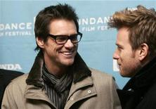 "<p>Cast member Jim Carrey looks at co-star Ewan McGregor (R) as they arrive for the premiere of the film ""I Love You Phillip Morris"" at the 2009 Sundance Film Festival in Park City, Utah January 18, 2009. REUTERS/Danny Moloshok</p>"