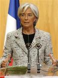 <p>France's Economy Minister Christine Lagarde delivers a speech during a one-day summit on the French car industry in Paris January 20, 2009. REUTERS/Benoit Tessier</p>