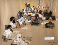 <p>In this photo of a sketch by courtroom artist Janet Hamlin, reviewed by the U.S. Military, the five Sept. 11, 2001 attack co-defendants sit during a hearing at the U.S. Military Commissions court for war crimes, at the U.S. Naval Base, in Guantanamo Bay, January 19, 2009. From top to bottom, they are Khalid Sheikh Momhammed, Waleed Bin Attash, Ramzi Binalshibh, Ali Abdul Aziz Ali, and Mustafa Ahmad al Hawsawi. REUTERS/Janet Hamlin/Pool</p>