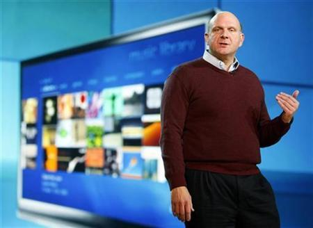 Microsoft CEO Steve Ballmer delivers the pre-show keynote address at the annual Consumer Electronics Show in Las Vegas, January 7, 2009. REUTERS/Rick Wilking