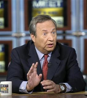 National Economic Council Director Lawrence Summers speaks during a taping of ''Meet the Press'' at the NBC studios in Washington, January 25, 2009. REUTERS/Alex Wong/Meet the Press/Handout