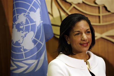 New U.S. ambassador to the United Nations Susan Rice appears at the United Nations headquarters to present her credentials to United Nations Secretary General Ban Ki-Moon in New York, January 26, 2009. REUTERS/Mike Segar