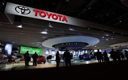 The Toyota display is seen during the North American International Auto Show in Detroit, Michigan January 13, 2009. REUTERS/Mark Blinch