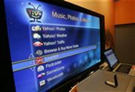 A screen shows Internet services available through an broadband-connected TiVo digital video recorder at the Consumer Electronics Show in Las Vegas, Nevada in this file photo from January 5, 2006. REUTERS/Steve Marcus