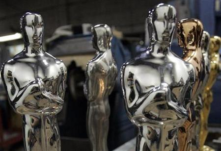 Oscar statues wait to be finished at R.S. Owen & Co. in Chicago, Illinois, January 27, 2009. REUTERS/Frank Polich