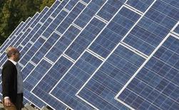 <p>Immagine di pannelli solari. REUTERS/Regis Duvignau (FRANCE)</p>