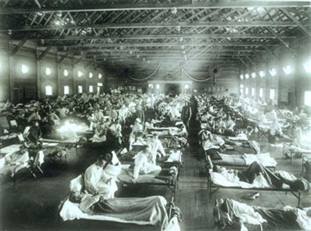 An emergency hospital at Camp Funston, Kansas, for soldiers sickened by the 1918 flu. REUTERS/National Museum of Health and Medicine/Armed Forces Institute of Pathology/Handout