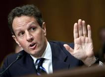 """<p>Secretary of Treasury Timothy Geithner testifies before the Senate Budget Committee during a hearing on """"Policies to Address the Crises in Financial and Housing Markets"""" at Capitol Hill in Washington, DC, February 11, 2009. REUTERS/Joshua Roberts</p>"""