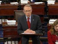 <p>Senate Majority Leader Senator Harry Reid addresses the Senate floor on Capitol Hill, February 6, 2009. REUTERS/REUTERS TV</p>