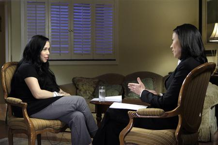 Nadya Suleman (L), mother of the octuplets born January 26 in Bellflower, California, is shown being interviewed by NBC correspondent Ann Curry in this publicity photo from NBC released to Reuters February 6, 2009. Suleman said she had long craved a ''huge family'' and tried for years to get pregnant before conceiving her first child through in vitro fertilization. REUTERS/Paul Drinkwater/NBC/Handout NO SALES. NO ARCHIVES. FOR EDITORIAL USE ONLY. NOT FOR SALE FOR MARKETING OR ADVERTISING CAMPAIGNS.