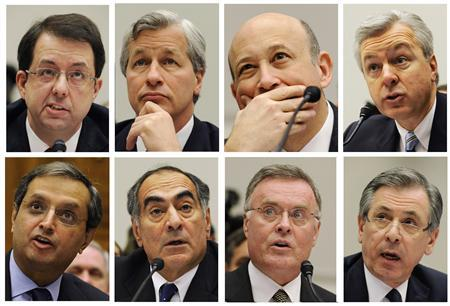Combination photograph of Wall Street bank executives testifying before House Financial Services Committee on Capitol Hill in Washington, February 11, 2009. REUTERS/Larry Downing