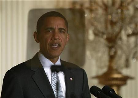 U.S President Barack Obama speaks on the economic stimulus package to be voted on Capitol Hill, during an event in the East Room of the White House in Washington, February 13, 2009. REUTERS/Jason Reed