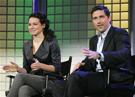 Stars of the Disney/ABC series ''Lost'', Evangeline Lily (L) and Matthew Fox (R), talk at the Disney keynote address at the 2007 International Consumer Electronics Show (CES) in Las Vegas, Nevada January 8, 2007. REUTERS/Rick Wilking