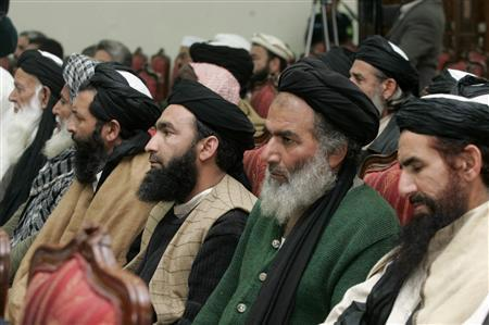 Delegation members of Pakistani Islamist leader Soofi Mohammad from the Swat valley attend a meeting with government officials, political and religious leaders in Peshawar, February 16, 2009. REUTERS/Ali Imam
