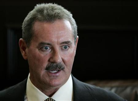 Texan billionaire Allen Stanford speaks during an interview with Reuters on May 1, 2008 in Miami. REUTERS/Joe Skipper