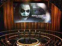 "<p>The late Heath Ledger's picture is displayed after he wins the Oscar for best supporting actor for his role in ""The Dark Knight"" during the 81st Academy Awards in Hollywood, California February 22, 2009. REUTERS/Gary Hershorn</p>"