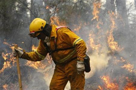 A New Zealand firefighter is seen at the scene of a controlled bushfire near the town of Reefton, about 96km (60 miles) east of Melbourne February 17, 2009. REUTERS/Mick Tsikas