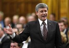 <p>Canada's Prime Minister Stephen Harper speaks during Question Period in the House of Commons on Parliament Hill in Ottawa February 25, 2009. REUTERS/Chris Wattie</p>