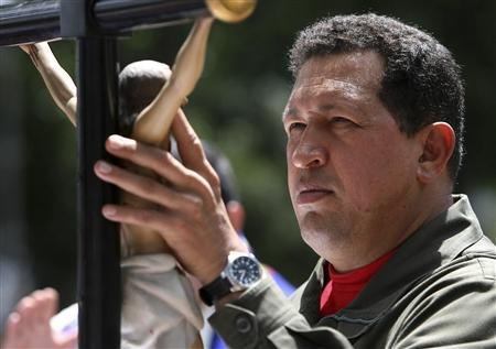 Venezuela's President Hugo Chavez attends a Catholic mass in Caracas February 27, 2009. Chavez attended the mass to commemorate the 20th anniversary of the bloody ''Caracazo'' riots. REUTERS/Miraflores Palace/Handout