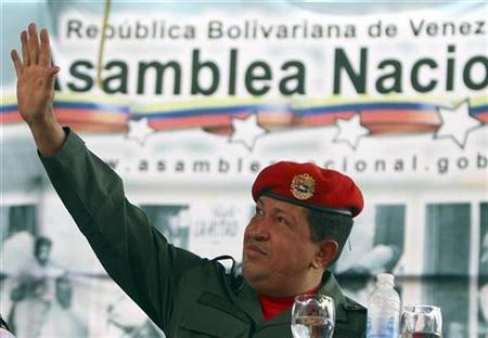Venezuelan President Hugo Chavez attends a ceremony at the National Assembly in Caracas February 28, 2009. REUTERS/Miraflores Palace/Handout