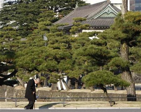 An elderly man walks at the Imperial Palace in Tokyo December 3, 2008. REUTERS/Toru Hanai