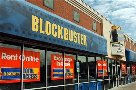 The exterior of a Blockbuster movie rental chain location in an image courtesy of the company. REUTERS/Handout