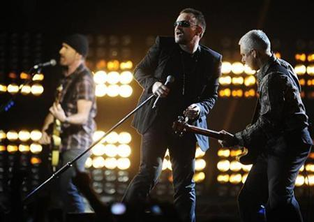 U2 perform at the Brit Awards at Earls Court in London February 18, 2009. REUTERS/Dylan Martinez