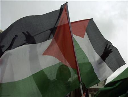A Palestinian Fatah supporter gestures behind a Palestinian flag during a rally in the West Bank city of Ramallah against Israel's offensive in Gaza and in support of President Mahmoud Abbas January 19, 2009. REUTERS/Fadi Arouri