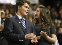 <p>Levi Johnston talks with his girlfriend Bristol Palin in the VIP box on the floor of the 2008 Republican National Convention in St. Paul, Minnesota September 3, 2008. REUTERS/Damir Sagolj (</p>