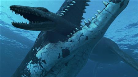 An undated handout shows an illustration of a 50 ft (15 metre) long Jurassic era marine reptile crushing a rival plesiosaur in the Jurassic ocean about 150 million years ago. REUTERS/Atlantic Productions/Zoo/Handout